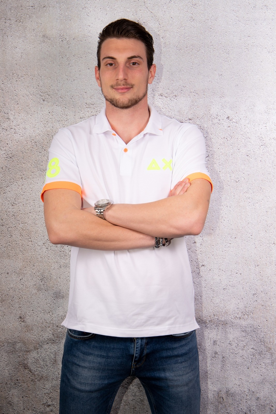 POLO FLUO PATCH SUN68 BIANCO