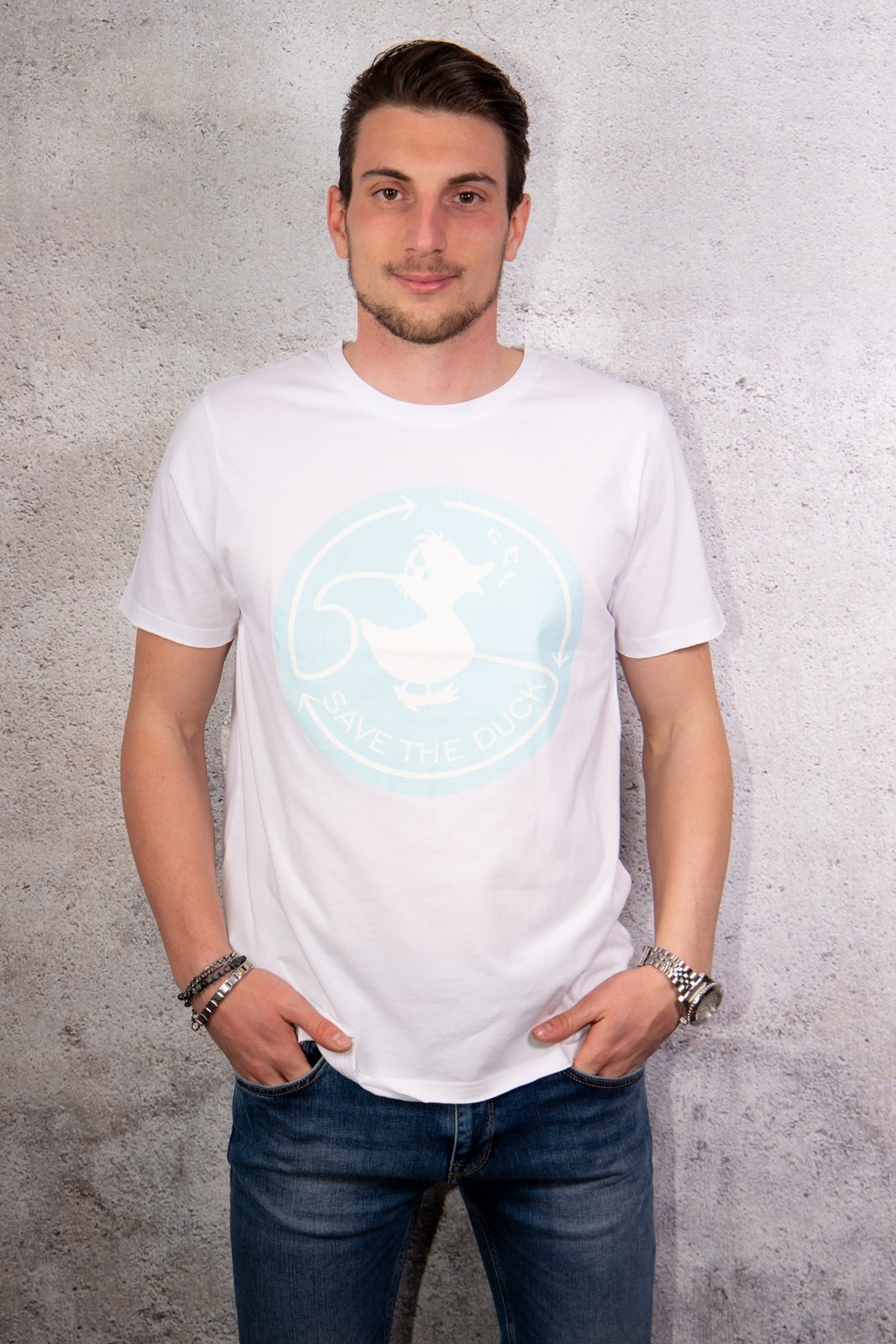 T SHIRT SAVE THE DUCK WHITEGREE